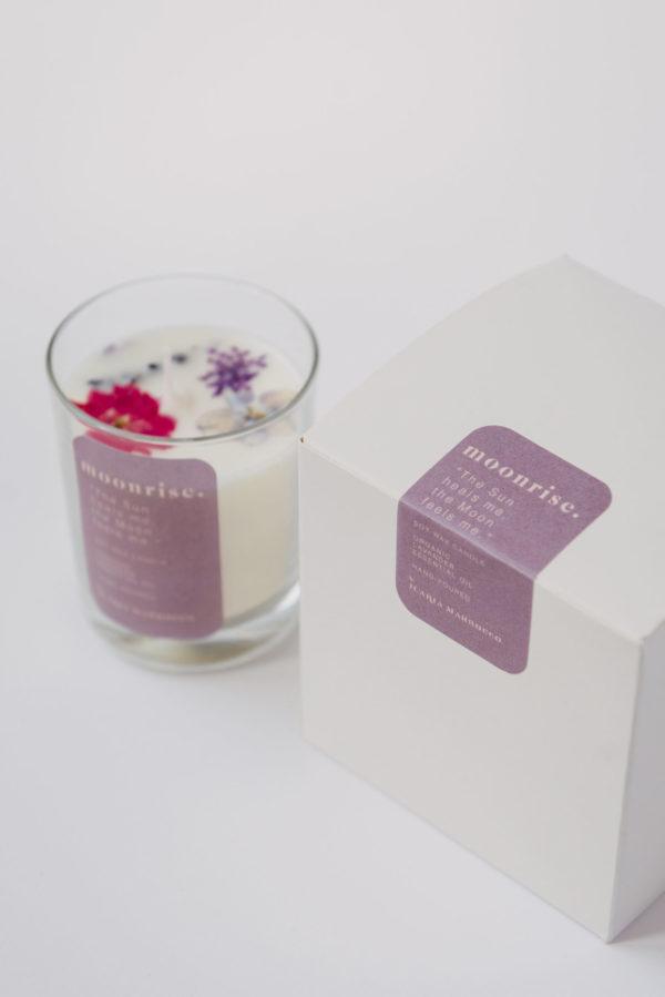 candele cera di soia oli essenziali fiori essiccati